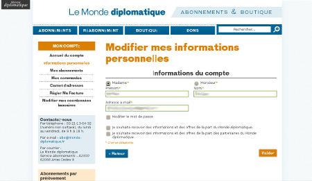 Informations personnelles sur le site du Monde Diplomatique