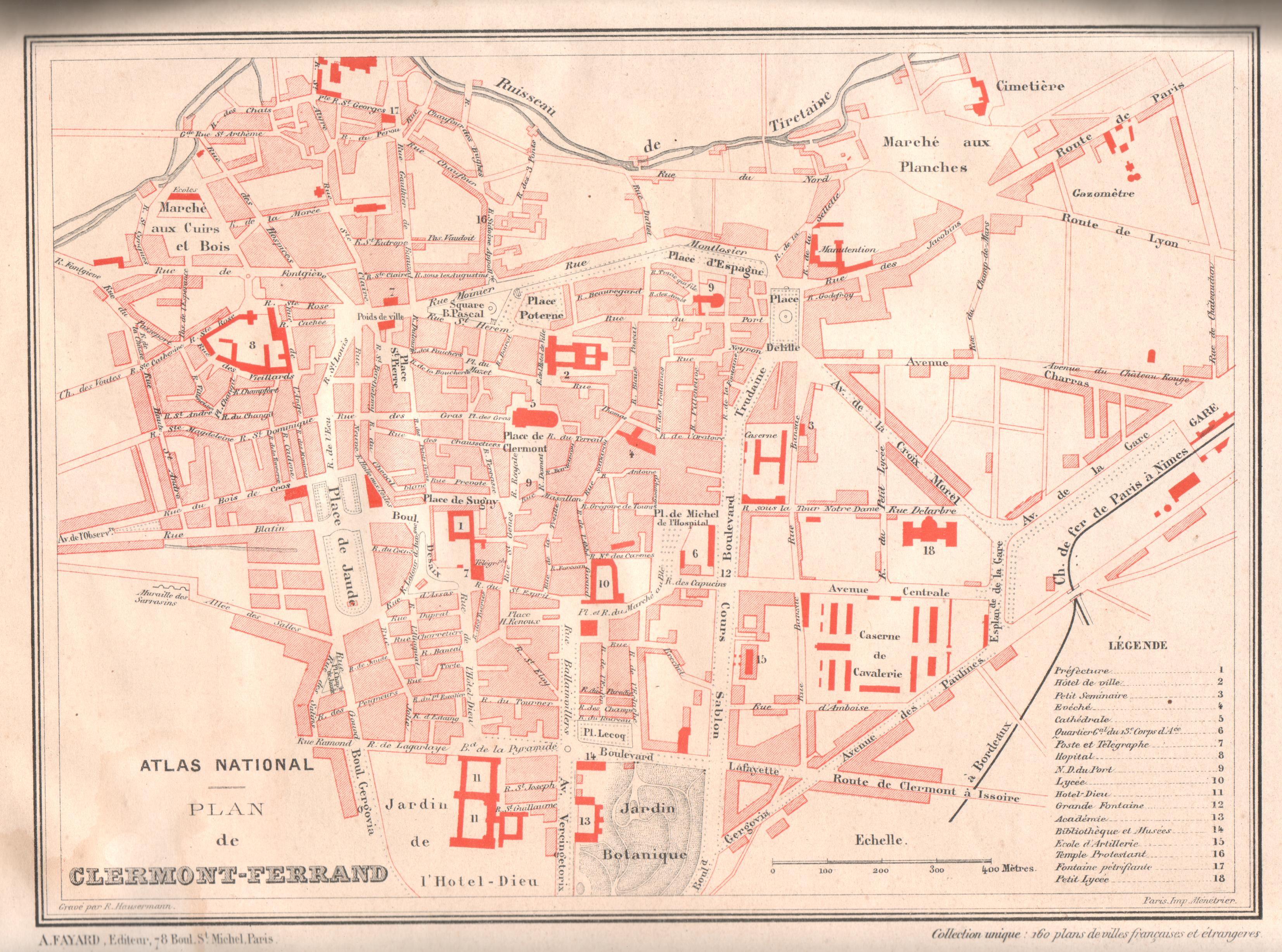 Carte ancienne de Clermont-Ferrand