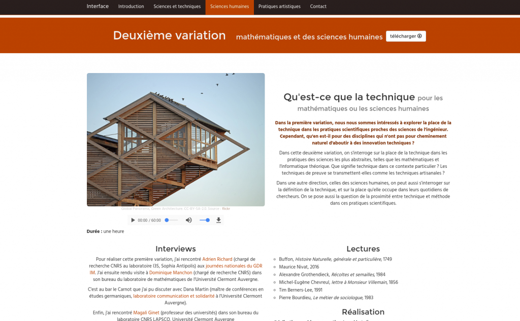 capture du site interface